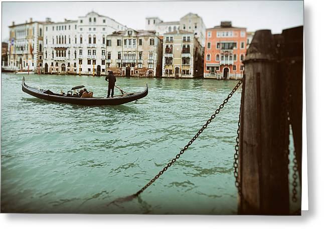 Dorsoduro Greeting Cards - Gondola Ride On A Wet Day Greeting Card by Paul Bucknall