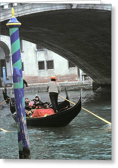 Gondolier Greeting Cards - Gondola under the Rialto Bridge Greeting Card by L S Keely