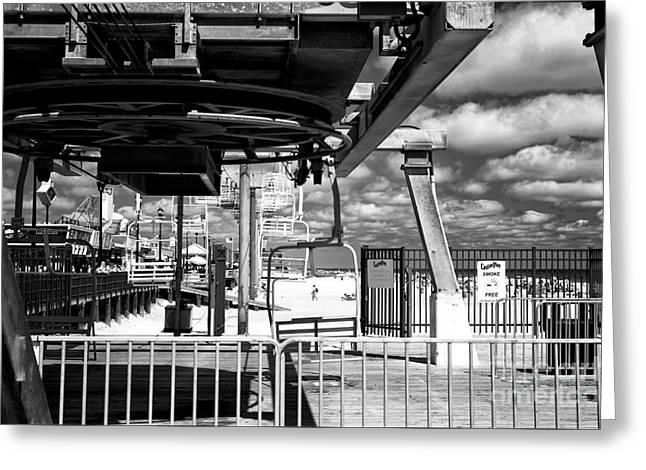 Casino Pier Greeting Cards - Gondola View mono Greeting Card by John Rizzuto