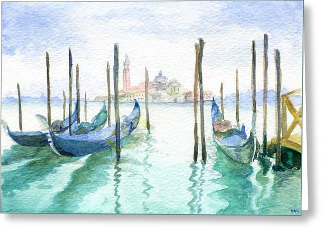 Docked Boat Greeting Cards - Gondolas at Piazza San Marco Greeting Card by Michelle Sheppard