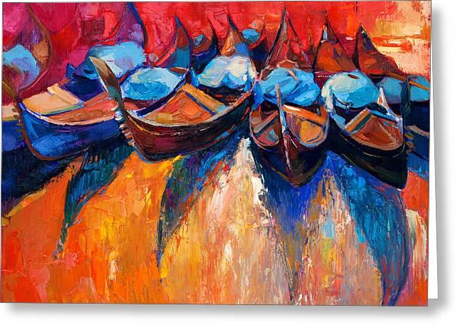Gondolas Greeting Card by Boyan Dimitrov