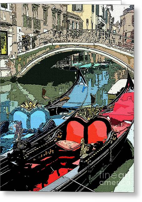 Fresco Greeting Cards - Gondolas Fresco  Greeting Card by Mindy Newman