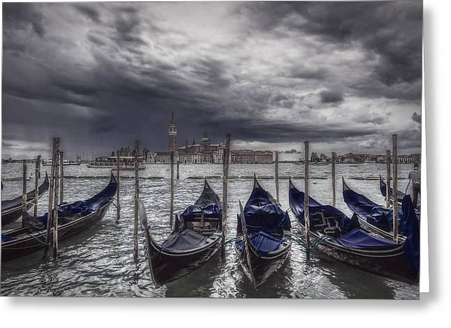 Color Enhanced Greeting Cards - Gondolas in front of San Giorgio Island Greeting Card by Roberto Pagani