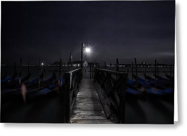 Gondolas In The Night Greeting Card by Andrew Soundarajan