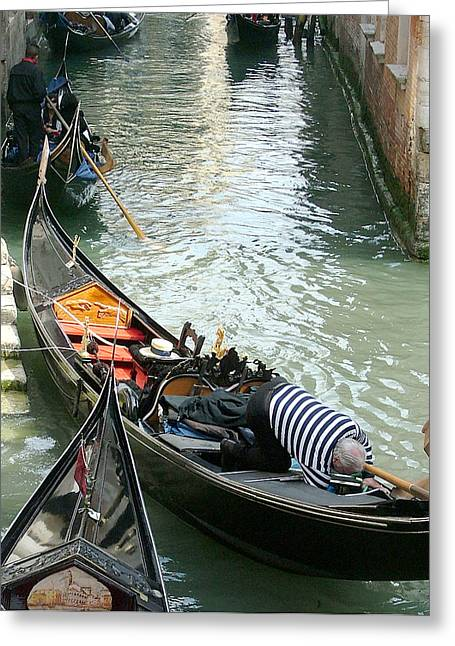 Gondolier Digital Art Greeting Cards - Gondolier at Work Greeting Card by Mindy Newman