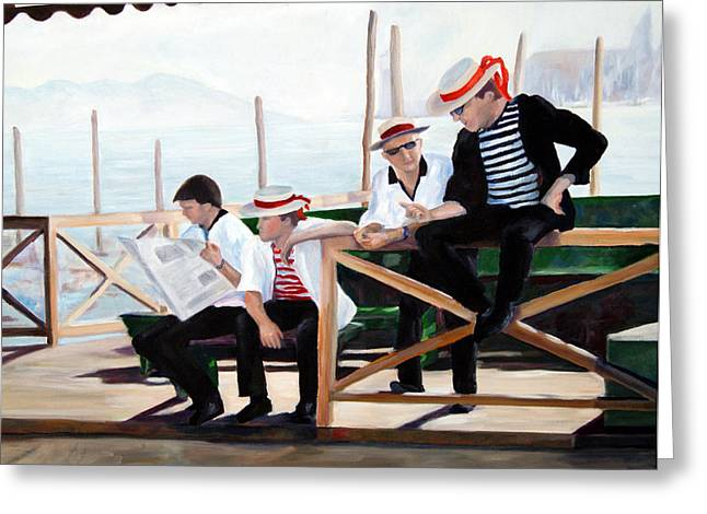 Segura Greeting Cards - Gondoliers Greeting Card by Mike Segura