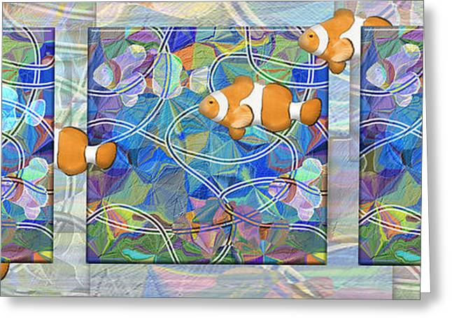 Mistikkal Original Art Greeting Cards - Gone Fishin triptych horizontal Greeting Card by Rosy Hall