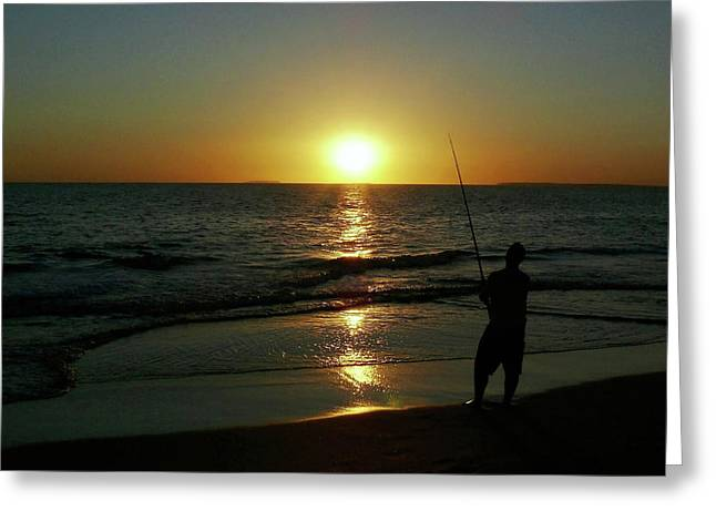 Gone Fishing Greeting Card by Marion Cullen