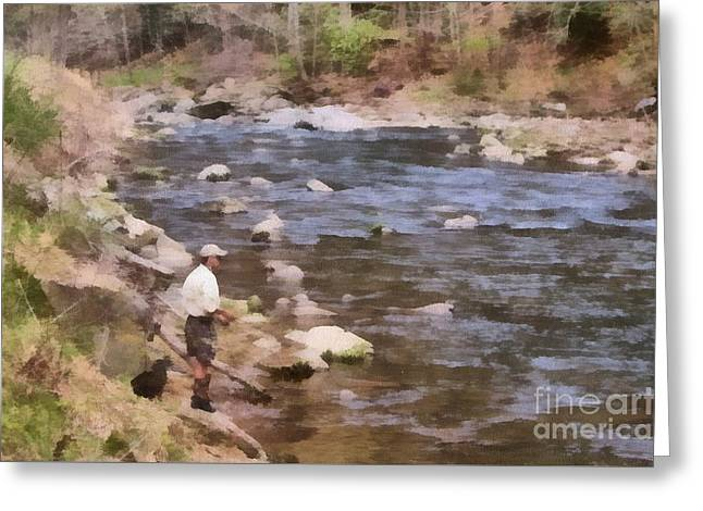 Fishing Creek Greeting Cards - Gone Fishing Greeting Card by Richard Squires