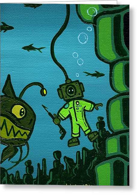 Scuba Diving Paintings Greeting Cards - Gone Fishn Greeting Card by Dan Keough