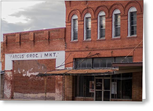 Grocery Store Greeting Cards - Gone Grocery 5 #VanishingTexas street scene Rosebud Texas Greeting Card by Trace Ready