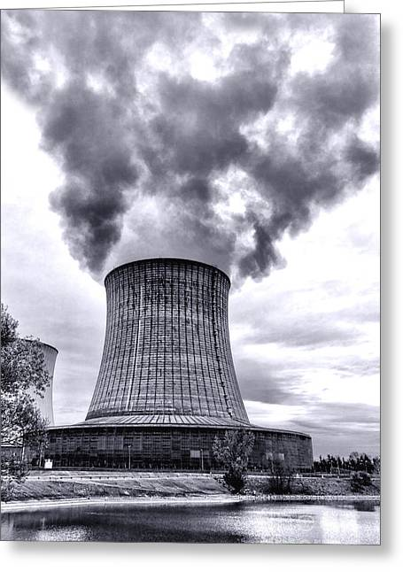 Power Plants Greeting Cards - Gone Nuclear Greeting Card by Olivier Le Queinec