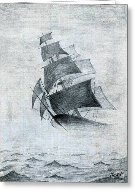 Historic Schooner Drawings Greeting Cards - Gone With The Wind Greeting Card by Farah Faizal