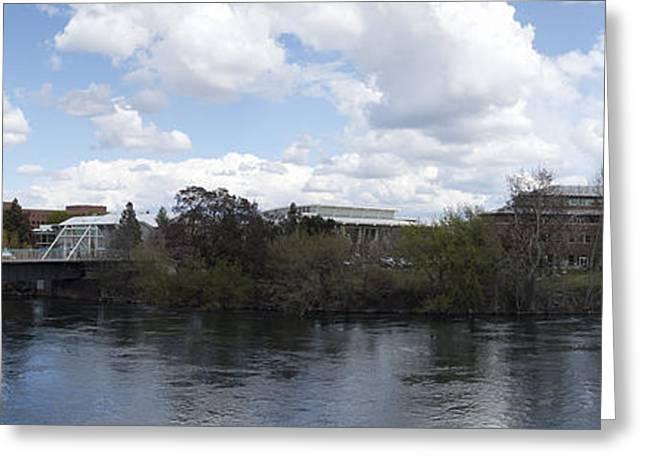 Spokane Greeting Cards - GONZAGA UNIVERSITY LAW SCHOOL and CENTENNIAL TRAIL BRIDGE - SPOKANE WASHINGTON Greeting Card by Daniel Hagerman