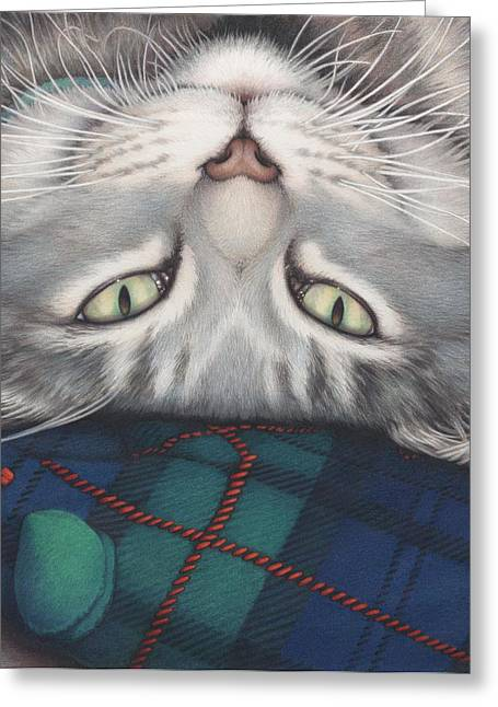 Cat Drawings Greeting Cards - Goobie - A Boy And His Toy Greeting Card by Amy S Turner