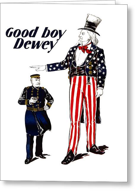 Admiral Greeting Cards - Good Boy Dewey Greeting Card by War Is Hell Store