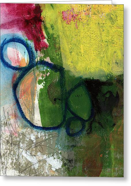 Yellow Line Greeting Cards - Good Day-Abstract Painting by Linda Woods Greeting Card by Linda Woods