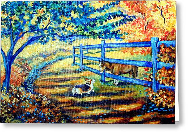Pastures Greeting Cards - Good Day Greetings - Pembroke Welsh Corgi Greeting Card by Lyn Cook
