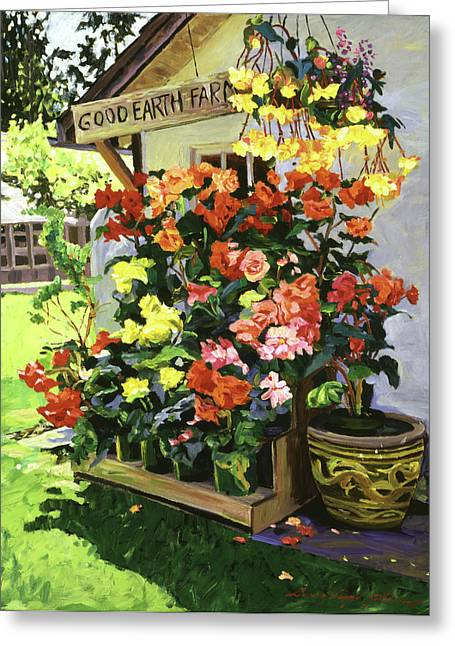 Begonias Greeting Cards - Good Earth Farm Greeting Card by David Lloyd Glover