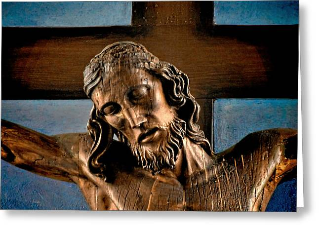 Carved Greeting Cards - Good Friday Jesus on the Cross Greeting Card by Christine Till