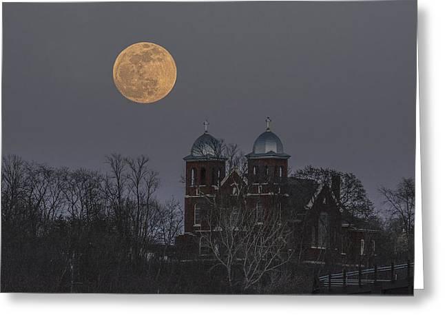 Prescott Digital Greeting Cards - Good Friday Moon over St. Josephs Greeting Card by Darrell P Delahousaye