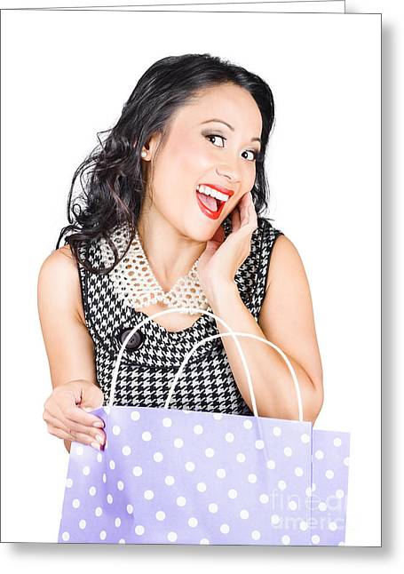 Good-looking Greeting Cards - Good looking Asian girl with bag. Shopping sales Greeting Card by Ryan Jorgensen