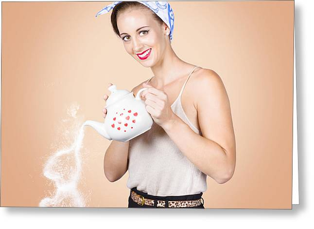 Coffeepot Greeting Cards - Good looking female pouring hot coffee love Greeting Card by Ryan Jorgensen
