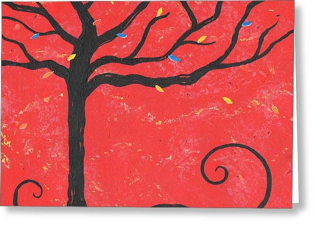 Nyc Posters Paintings Greeting Cards - Good Luck Tree - Left Greeting Card by Kristi L Randall