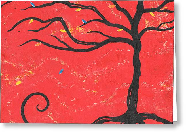 Nyc Posters Paintings Greeting Cards - Good Luck Tree - Right Greeting Card by Kristi L Randall