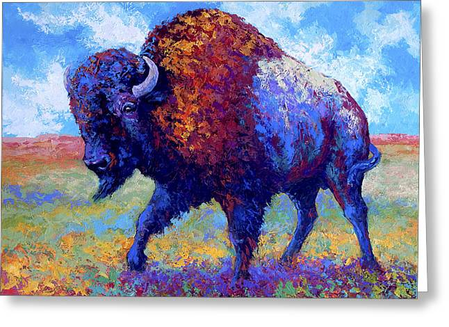 Bison Paintings Greeting Cards - Good Medicine Greeting Card by Marion Rose