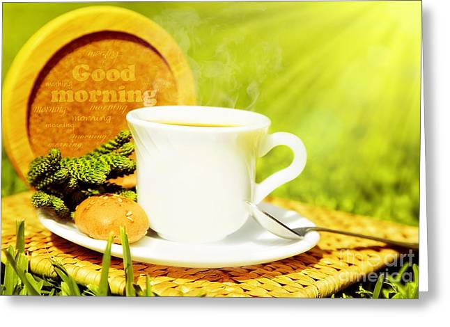 Coffe Greeting Cards - Good morning beverage Greeting Card by Anna Omelchenko