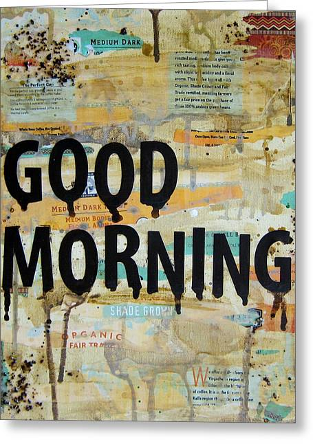 Good Morning Coffee Collage 9x12 Greeting Card by Michelle Eshleman