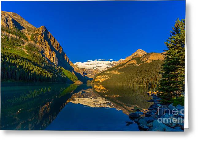 Snow Capped Greeting Cards - Good Morning Lake Louise Greeting Card by John Roberts