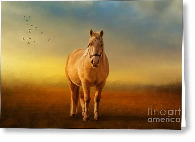 Horse In Field Greeting Cards - Good Morning Sweetheart Greeting Card by Lois Bryan