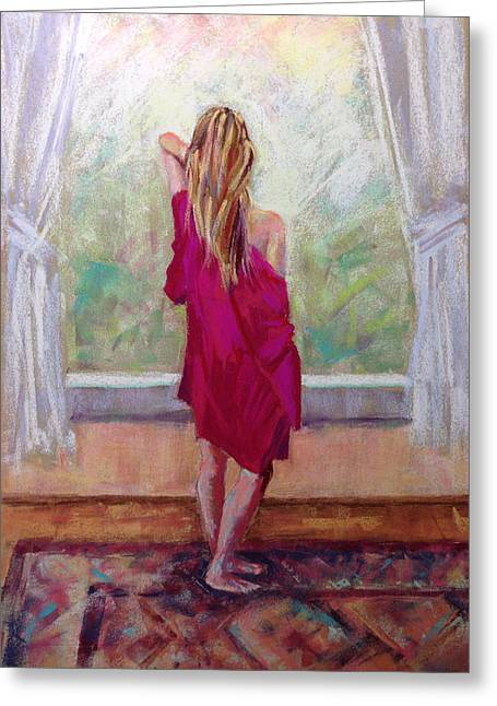 Robe Pastels Greeting Cards - Good Morning World Greeting Card by Michelle Wells Grant