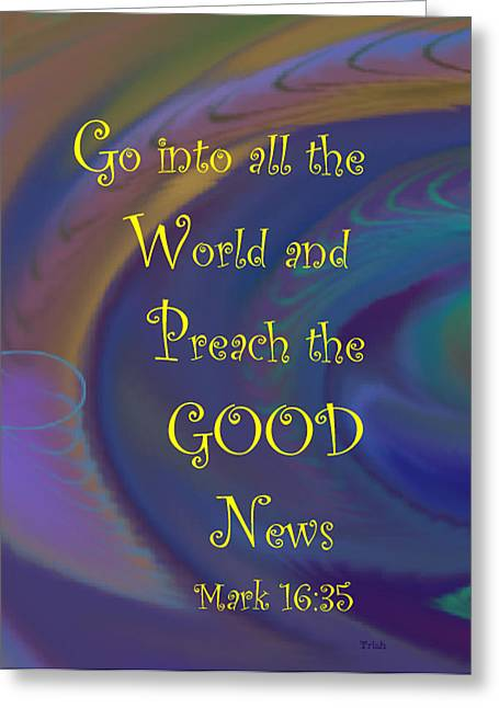 Good News Greeting Card by Trish Jenkins