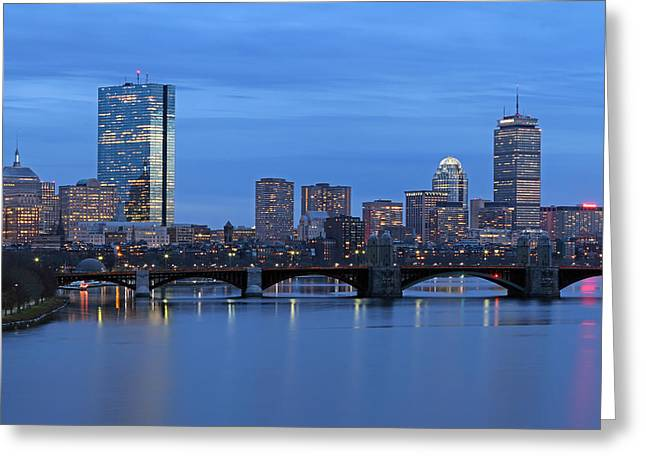 Charles River Greeting Cards - Good Night Boston Greeting Card by Juergen Roth