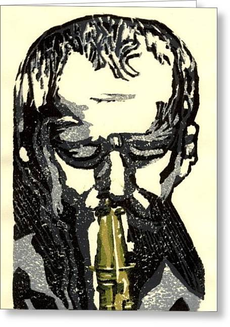 Linocut Reliefs Greeting Cards - Good Sax Greeting Card by John Brisson