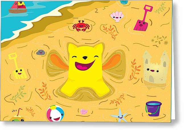 Happy Child Greeting Cards - Good vibes at the beach Greeting Card by Seedys
