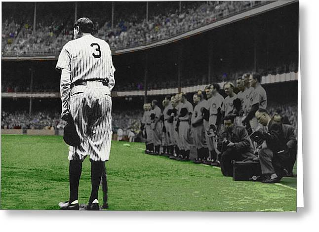 Baseball Field Mixed Media Greeting Cards - Goodbye Babe Ruth Farewell Horizontal Greeting Card by Tony Rubino