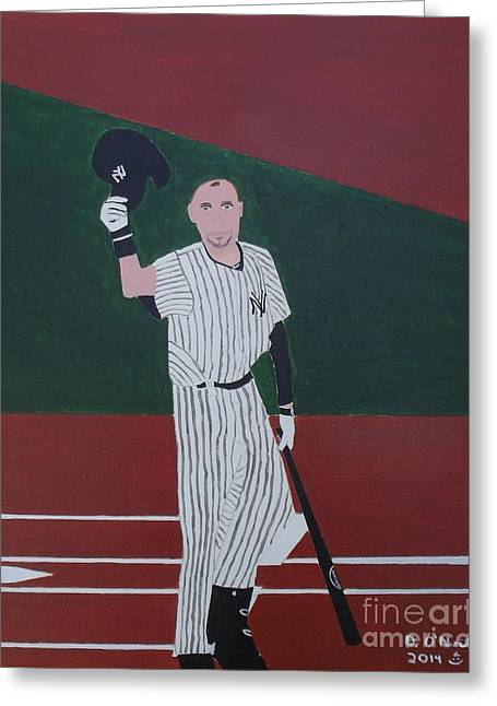 Baseball Art Greeting Cards - Goodbye Mr Jeter Greeting Card by Dennis ONeil