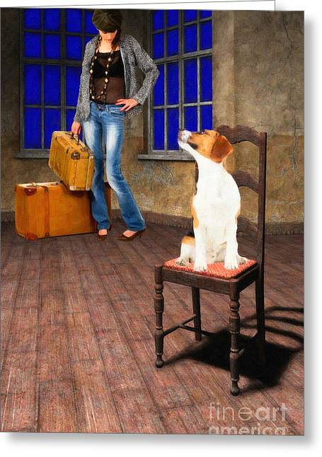Dogs Digital Art Greeting Cards - Goodbyes Arent Easy Greeting Card by Liane Wright