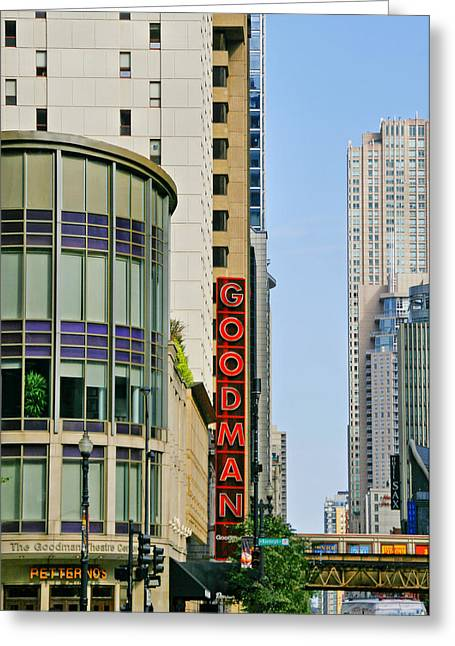 Innovative Greeting Cards - Goodman Memorial Theatre Chicago Greeting Card by Christine Till