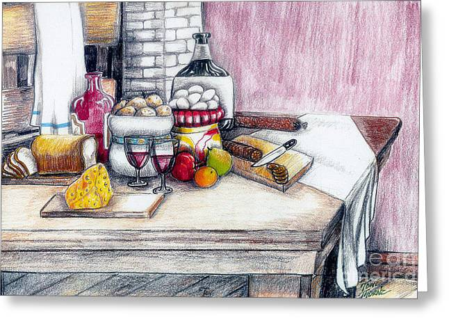 Wine Country. Drawings Greeting Cards - Goodness Greeting Card by Toni  Thorne
