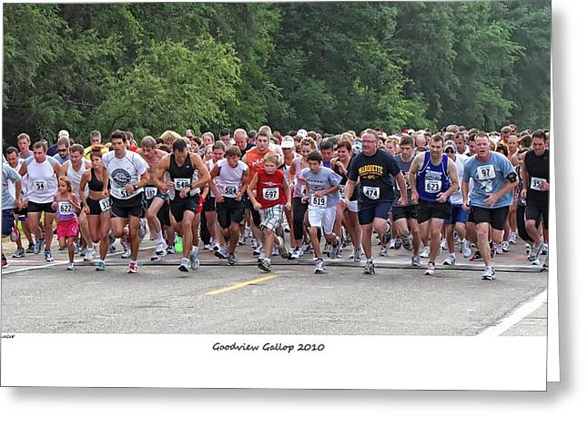 Morning Race Greeting Cards - Goodview Gallop 2010 Greeting Card by Al  Mueller