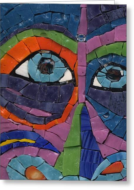 Outsider Glass Art Greeting Cards - Goofy - Fantasy Face No.6 Greeting Card by Gila Rayberg