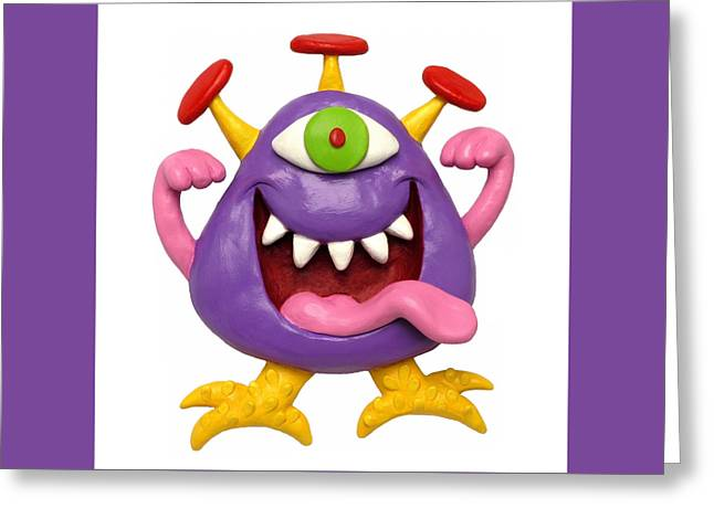 Clay Sculpture Greeting Cards - Goofy Purple Monster Greeting Card by Amy Vangsgard