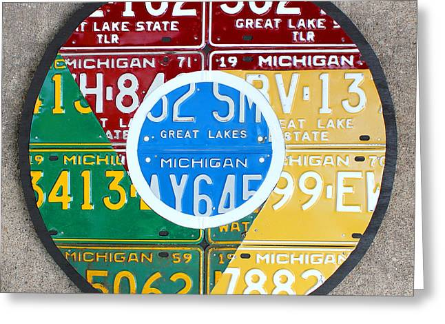 Google Greeting Cards - Google Chrome Logo Recycled License Plate Art on Cement Wall Greeting Card by Design Turnpike