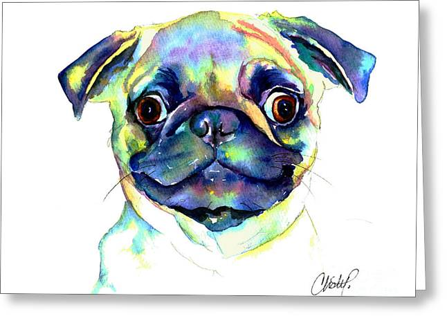 Puggle Greeting Cards - Google Eyed Pug Greeting Card by Christy  Freeman