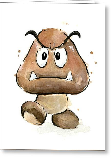 Cute Greeting Cards - Goomba Watercolor Greeting Card by Olga Shvartsur